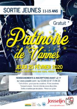 Sortie jeunes 11-15 ans : Patinoire de Vannes @ Départ Place des cars à JOSSELIN