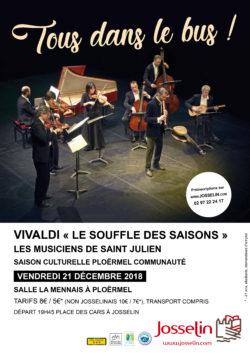 """Sortie Tous dans le bus : Concert Vivaldi """"Le souffle des saisons"""" @ Départ Place des cars à JOSSELIN"""